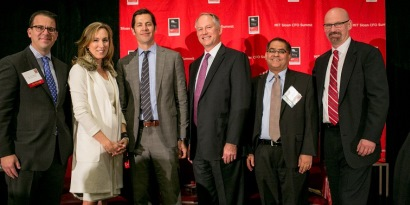 Co-Chairs Jeremy Seidman and Jack McCullough pose with CFOs at the 2015 MIT CFO Summit.