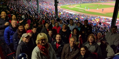 Alumni enjoying the Red Sox beat the Blue Jays on 9-30-16.